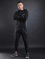 Men's Running T-Shirt Long Sleeves Trainer Jumping Fitness Tracksuit for Running/Jogging Walking Fitness Cotton Polyster Grey Black XXL