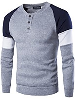 cheap -Men's Daily Sweatshirt Color Block Round Neck Polyester Long Sleeves Fall