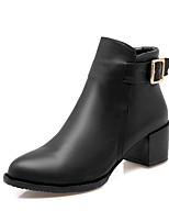 cheap -Women's Shoes Leatherette Winter Fashion Boots Boots Chunky Heel Round Toe Booties/Ankle Boots Buckle For Casual Red Gray Black