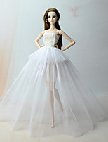 cheap -Dresses Dresses For Barbie Doll White Dress For Girl's Doll Toy