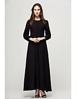SHE IN SUN Women's Party Daily Swing Dress,Solid Round Neck Maxi Long Sleeve Polyester Fall Mid Rise Inelastic Opaque