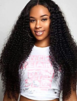 Women Human Hair Lace Wig Brazilian Human Hair Lace Front 130% Density With Baby Hair Kinky Curly Wig Chestnut Brown Medium Brown Dark