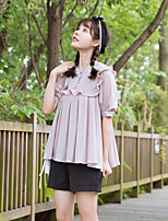 Women's Daily Cute Shirt,Solid Round Neck Short Sleeves Cotton