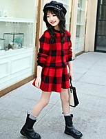 cheap -Girls' Plaid Clothing Set,Cotton Rayon Spring Fall Long Sleeves Cute Casual Active Black Red