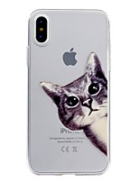 baratos -Capinha Para Apple iPhone X / iPhone 8 Transparente / Com Relevo / Estampada Capa traseira Gato Macia TPU para iPhone X / iPhone 8 Plus / iPhone 8