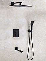Thermostatic Bathroom Shower Faucet Set Contemporary / 12 Inch Rain Shower Head / Brass Hand Shower And Spout Included / Matte Frosted Black