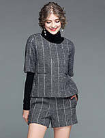 Women's Going out Casual/Daily Street chic Fall Winter Sweater Pant Suits,Plaid/Check High-Neck Long Sleeves Polyester >75%