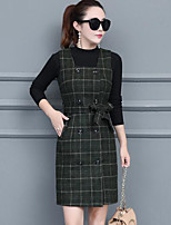 Women's Going out Casual Winter Fall Sweater Dress Suits,Plaid/Check Turtleneck Long Sleeves Cotton