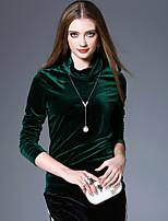 economico -T-shirt Da donna Per uscire Casual Vintage Boho Autunno Primavera,Tinta unita A collo alto Poliestere Elastene Manica lunga Medio spessore