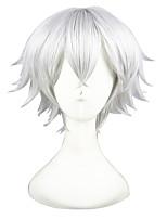 abordables -Mujer Pelucas sintéticas Corto Liso Natural Plata Peluca de cosplay Pelucas para Disfraz