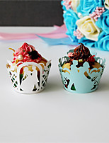 50pcs/lot Bride And Groom  Laser Cut  Cupcake WrapperLiner Cake Baking Cups Birthday Wedding Accessories  Home Party Decoretion.