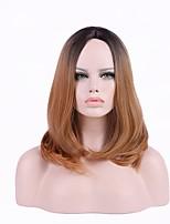 Donna Parrucche sintetiche Medio Ondulato Black / Dark Auburn Capelli schiariti Taglio scalato Taglio asimmetrico Parrucca naturale