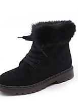 Women's Shoes Suede Fall Combat Boots Boots Low Heel Round Toe Lace-up For Casual Khaki Army Green Black