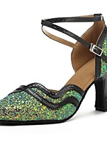 cheap -Modern Paillette Faux Leather Sandal Heel Bows Customized Heel Green/Black Customizable