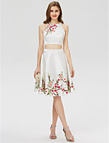 A-Line Jewel Neck Short / Mini Satin Cocktail Party Dress with Embroidered Print by TS Couture®