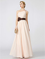 A-Line Princess One Shoulder Floor Length Chiffon Formal Evening Dress with Beading Bow(s) Side Draping by TS Couture®