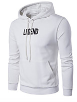 cheap -Men's Daily Going out Hoodie Solid Letter Hooded Micro-elastic Polyester Long Sleeves Winter Fall