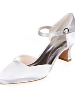 cheap -Women's Shoes Satin Spring Summer Basic Pump Wedding Shoes Block Heel Square Toe For Wedding Party & Evening Ivory Pink Blue Silver Purple