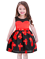 Girl's Birthday Christmas Floral Dress,Polyester Sleeveless