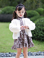 Girls' Solid Jacket & Coat,PU Cotton Brown White Blushing Pink