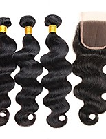 cheap -Remy Indian Natural Color Hair Weaves Body Wave Hair Extensions 4pcs Black