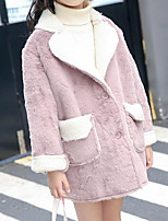 Girls' Solid Trench Coat Long Sleeves Blushing Pink