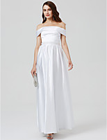 A-Line Princess Off-the-shoulder Floor Length Satin Formal Evening Dress with Beading Sash / Ribbon Pleats by TS Couture®