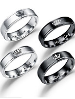 cheap -Men's Women's Couple Rings Band Rings Heart Sweet Stainless Circle Crown Jewelry Date Valentine