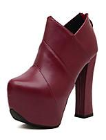 abordables -Mujer Zapatos Semicuero Invierno Otoño Confort Innovador Botas de Moda Botas hasta el Tobillo Botas Para Boda Casual Negro Wine