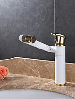 Contemporary Deck Mounted Rotatable Ceramic Valve Single Handle One Hole Painting , Bathroom Sink Faucet