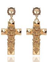 Women's Drop Earrings Rhinestone Simple Imitation Diamond Alloy Cross Jewelry For Party Formal