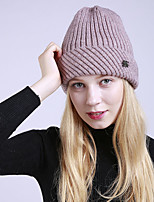 cheap -Women's Acrylic Roman Knit Floppy HatVintage Cute Casual Striped Winter Braided Gray Navy Blue Blushing Pink Red Black