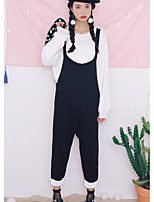 Women's Going out Casual/Daily Street chic Fall Winter Sweater Pant Suits,Solid Round Neck Long Sleeves Cotton