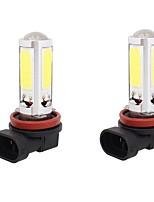 2PCS H11 25W 5 COB LED White Light Car Front Fog Lamp Bulb Car-Styling Car Park Brake Fog Light DC12V