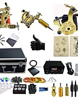 Basekey Professional Tattoo Kit  S017G3Z12Z0Z14 3   Machines Golden  Liner & Shader With  Dual Power Supply Grips Cleaning Brush  Needles