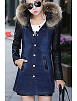 Women's Going out Simple Casual Winter Fall Denim Jacket,Solid V Neck Long Sleeves Regular Polyester