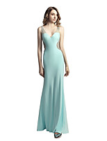 Mermaid / Trumpet V-neck Floor Length Linen Prom Formal Evening Dress with Beading Sequins by Sarahbridal