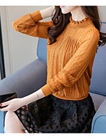 cheap -Women's Daily Wear Vintage Shirt,Hollow Crew Neck Long Sleeves Cotton