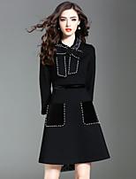 Women's Daily Going out Street chic A Line Dress,Vintage Shirt Collar Knee-length 3/4 Sleeve Cotton Polyester Fall Medium Waist