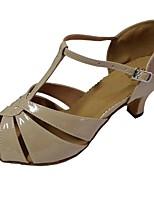 Women's Latin PU Leatherette Sandal Indoor Customized Heel Beige Customizable