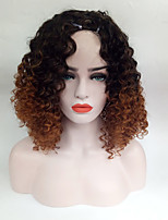 Women Synthetic Wig Capless Black Blonde Curly Hair With Bangs Costume Wig