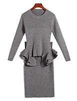 Women's Daily Casual All Seasons Set Dress Suits,Solid Round Neck Long Sleeve Cotton