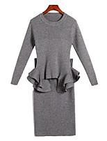 Set Robes Costumes Femme,Couleur Pleine Décontracté / Quotidien simple Toutes les Saisons Manches longues Col Arrondi Coton