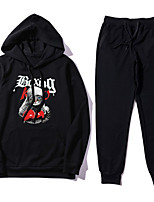 cheap -Men's Daily Hoodie Print Hooded Stretchy Polyester Long Sleeve Spring/Fall