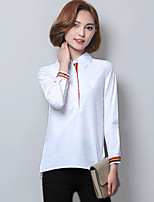 cheap -Women's Daily Street chic Shirt,Solid Shirt Collar Long Sleeves Cotton