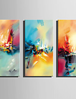 Hand-Painted Abstract Vertical,Rustic Modern Three Panels Canvas Oil Painting For Home Decoration