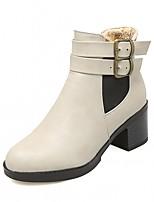 preiswerte -Damen Schuhe Kunstleder Winter Frühling Modische Stiefel Stiefeletten Stiefel Runde Zehe Booties / Stiefeletten Für Normal Kleid Schwarz