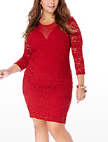 Women's Party Plus Size Sexy Street chic Bodycon Lace Dress,Solid Round Neck Above Knee Long Sleeves Polyester Spring Fall Mid Rise