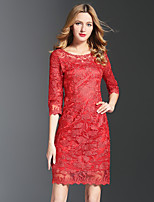 YHSP Women's Plus Size Going out Simple Boho Street chic Bodycon Sheath Lace DressSolid Embroidered Round Neck Above Knee 3/4 Length Sleeves