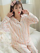 Nuisette & Culottes Pyjamas Femme,Imprimé Imprimé Polyester Bleu Rose Claire